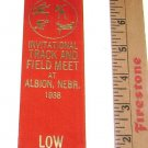 "HIgh School Ribbon Track Award ""Low Hurdles"" Albion Nebraska 1938"