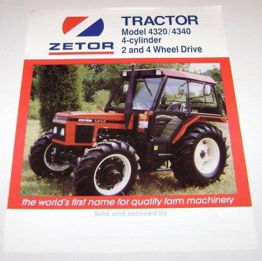 Zetor Tractor Model 4320 - 4340 4Cylinder 2&4 Wheel Drive Spec Sheet