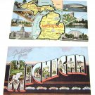 "(2) Vintage Postcard Michigan ""Greetings"" & Map assorted pictues"