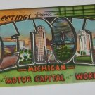 "Vintage Postcard ""Greetings"" Detroit Michigan ""Motor Capitol of the World"""