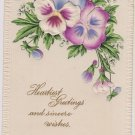 "Vintage Postcard ""Heartiest Greeting & Sincere Wishes"" Purple White Flowers"