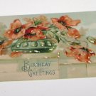 Vintage Postcard Birthday Greetings Red Flowers in Green Vase