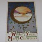 "Vintage Postcard ""Merry Christmas "" Small Cabin Snowy Scene W/ Stars & Crescent"