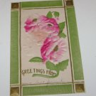 Vintage Postcard Greetings From Green Trim Red Roses