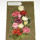 Vintage Postcard Bouquet of Multi Colored Roses & Love Poem