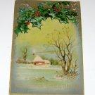 """Vintage Postcard """"Seasons Greetings"""" Snowy Rural House Scene * Mistletoe"""