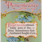 "Vintage Postcard ""Remembrance""  Blue Forget Me Nots"