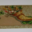 Vintage Postcard Horn w Horseshoes & Four Leaf Clovers & Mushrooms
