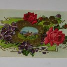 "Vintage Postcard ""Many Happy Returns of the Day"" Red Rose & Village Scene"