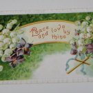 Vintage Postcard Peace and love By Thine Cross and Purple White Flowers
