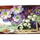 Vintage Postcard Best Wishes Rural Home & Stream W Purple Flowers