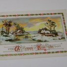 Vintage Postcard Happy New Year Rural Snowy Scene by Pond