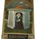 Vintage Postcard Under The Stars Man Woman Kissing Gazebo