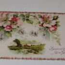 Vintage Postcard Bright Be Your New Year Rural Scene & Flowers
