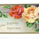 Vintage Postcard Loving Birthday Greetings Red & White Rose