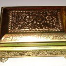 *Vintage PRESSED TIN BOX Western Germany FRIDEE & NADEE Gold Color