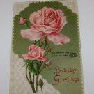 """Vintage Postcard """"Birthday Greeting"""" Red Roses"""
