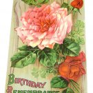 "Vintage Postcard ""Birthday Remembrance""  Roses"