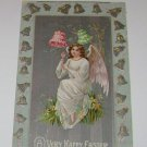 "Vintage Postcard ""Happy Easter"" female angel with lilies & bells"