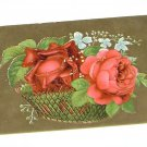 Vintage Postcard Two Large Roses in a Basket w Greenery