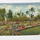 Vintage Postcard Bright Flowers & Orange Trees in a Miami Florida Estate