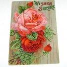 Vintage Postcard Wishes Sincere Red Roses
