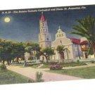 Vintage Postcard Catholic Cathedral & Plaza St Augustine Florida