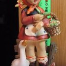 Vintage Erich Stauffer Figurine Pony Tailed Girl Basket W Goose By Wooden Fence