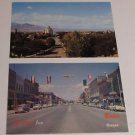 (2) Postcard 1950's Baker Oregon Downtown and Birds Eye View