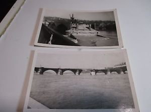 (2) Vintage Postcard World War 2 Bridge Bombing Damage