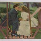 "Vintage Postcard Young Man Kissing Woman on Wooden Swing ""I'm for you if---)"