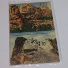 Vintage Postcard Before & After Mount Rushmore