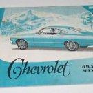 1967  67 Chevrolet Chevy Owner's Manual Guide Passenger Car Original