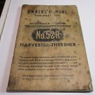 Vintage McCormick Deering No 52-R Harvester Thresher Owners Manual & Parts List