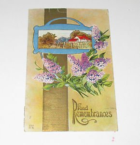 "Vintage Postcard ""Fond Remembrances"" Lilacs & Rural Scene PM'd 1912"