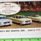 Nash Autos golden airflytes for 1952 Styled by Pinin Farina  Postcard ads