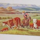 Vintage Postcard Montana Herding Cattle by Union Pacific Railroad No 9 in series