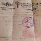 Pennsylvania Consumers Oil Invoice/bill 1915 Davey Nebraska Stamped