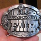 "1990 ~""Sedwick County Fair"" Cheney Kansas Pewter Buckle Wheat & Sunflower Design"