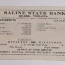 Saline State Bank Statement of Condition Wilbur Nebraska Card 1958