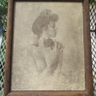 R. Hendrickson Art Print Sepia Wooden Framed, Topless Lady wearing collar