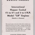 owners manual International Hopper Colled 1 1/2 - 2 1/2 -5HP Model LB Engines