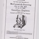 McCormick Deering Instructions 1 1/2 - 2 1/2 to 5HP Gasoline Engines LA wico AH Magneto