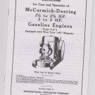 McCormick Deering Instructions 1 1/2 - 2 1/2 to 5HP Gasoline Engines LA wico AH Magneto