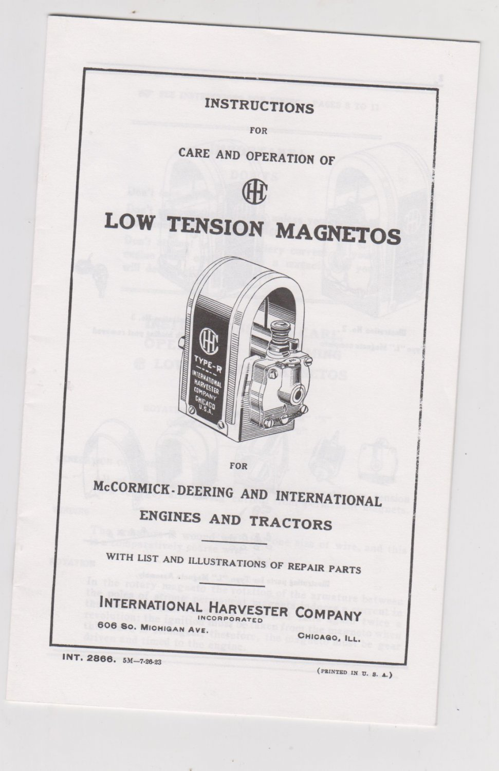 Instructions for Care and Operation of Low Tension Magnetos McCormick-Deering