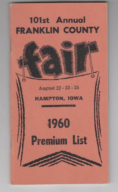 101st Annaul Franklin County Fair Hampton Iowa 1960 Premium List