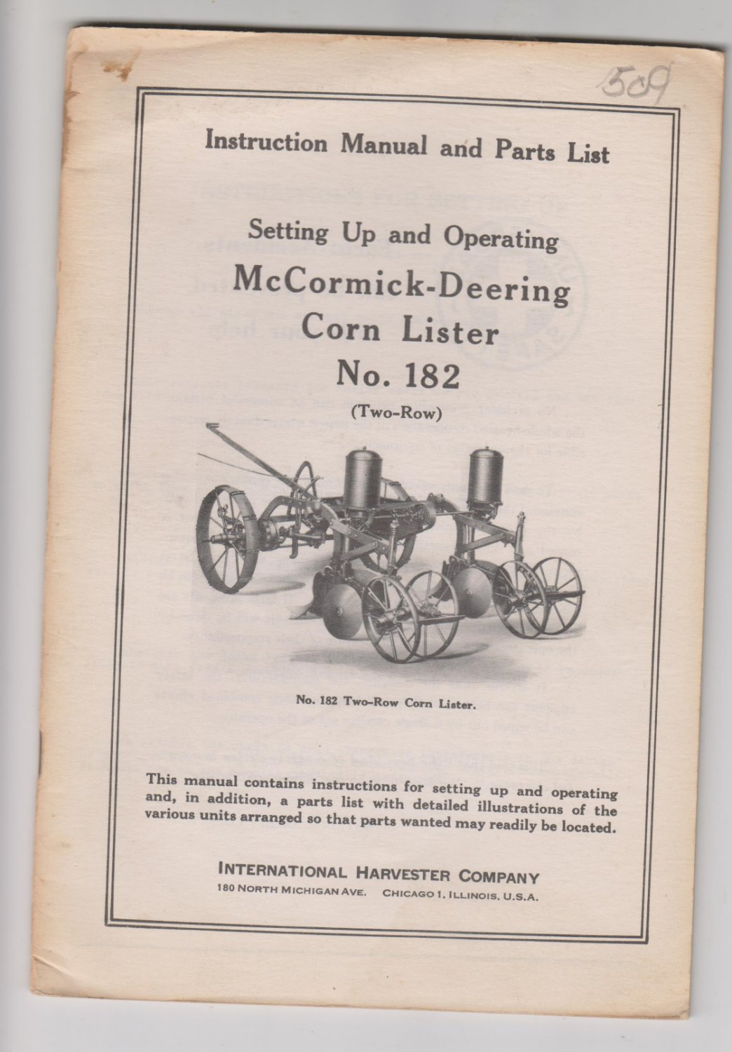 Instruction Manual IH Mccormick Deering Corn Lister no 182 Two Row