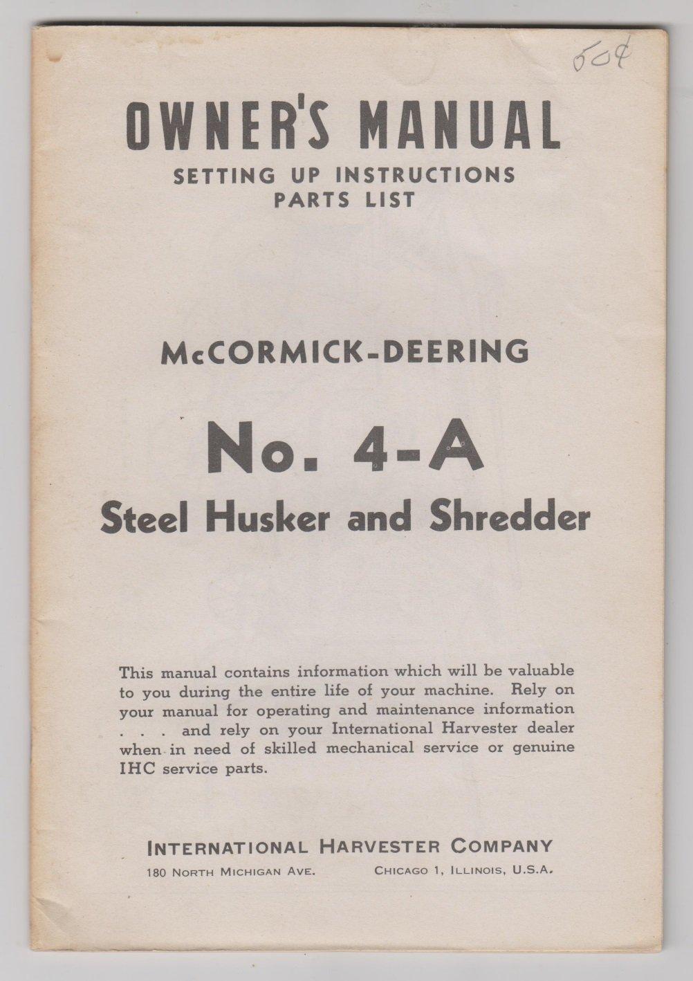 Manual IH mccormick deering steel husker and shredder manual no 4-A
