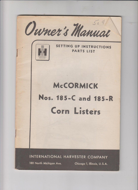 mccormick nos 185-c and 185-r corn listers operators manual