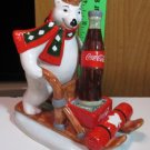 COCA COLA BEARS FROM CANADA BEAR ON WOODEN SLED FIGURINE